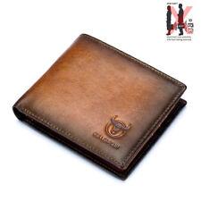 RFID Blocking Brown Leather Trifold Wallet Mens Credit Cards Holder Money Pocket