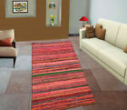 Indian chindi vintage rag rug hand loomed throw runner striped hand woven carpet