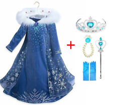 Costumes Dresses Princess Girls Snow Queen Carnaval Vestido Ankle-length Layered