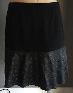 MYNT 1792 Black & Silver Rivet Trim 'SOPHIA' Flounce Skirt Plus Sizes 14-24