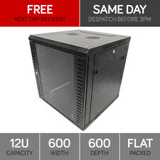 """12U 19"""" Network Cabinet Rack Wall Mounted 600*600mm Black Data Comms Patch Panel"""