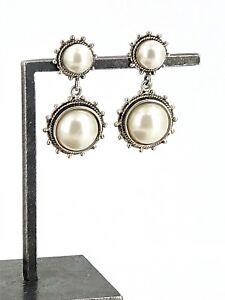 Vintage MC Sterling Silver & Double Faux Pearl Decorative Trim Post Earrings