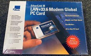 3com 3C563D Etherlink III Lan +33.6 Modem Global PC Card for 10BASE-T