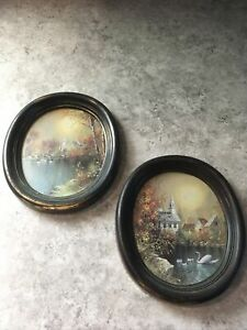 Vintage Oval Picture Frame Lot 5x7 Black And Gold Distressed Look Homecoming 80s