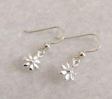 925 Solid Sterling Silver Flower Daisy Drop Dangle Earrings