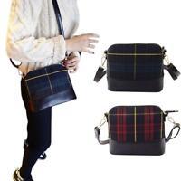 Women PU Leather Plaid Handbag Satchel Shoulder Messenger Crossbody Bag Purse