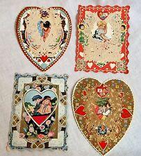 4 Whitney Made Vintage Valentine Cards Bi Fold w/ Lace Die Cut 1920s