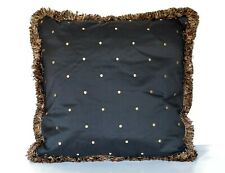 silk embroidered black and gold polka dot decorative throw pillows with fringe