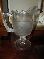 ANTIQUE EAPG GILLINDER & SONS WESTWARD HO TALL FOOTED CREAMER PRESSED GLASS