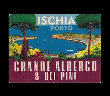 Ischia. Grande Albergo & Dei Pini. Etichetta da valigia. Vintage luggage label.