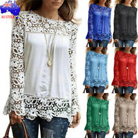 Plus Size S-5XL Women's Casual Long Sleeve Shirt Loose Blouse Ladies Lace Tops