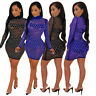 Sexy Women Long Sleeve Sequins Bodycon Club Party Mini Dress Party Cocktail Wear