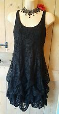 Vintage lacey style black hitched dress Whitby Gothic Steampunk Victorian 10