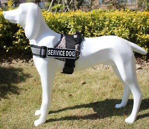 Service Dog Harness Vest Strong Adjustable & Reflective Dog Harness w/ Patches
