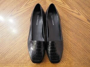 ENZO ANGIOLINI Liberty Black Leather Croco Print Front Flat Loafer Shoes Size 9W