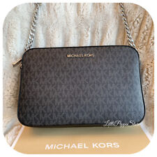 NWT MICHAEL KORS MK LOGO PVC OR LEATHER JET SET LARGE EW CROSSBODY BAG VARIOUS