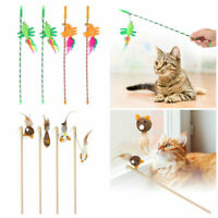 4Pcs Funny Cat / Kitten Pet Play Teaser Pet Bell and Feather Toy Stick Wand Toys