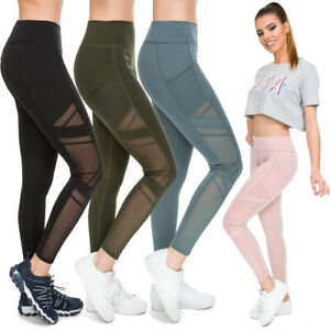 Womens Push-Up Gym Leggings with Pockets High Waisted Activewear Mesh Pants HL44