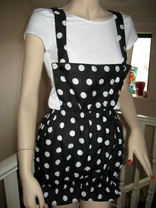 Adult spotted Dungarees Black white  Bloomers Pantaloons Sissy Shorts Plus size