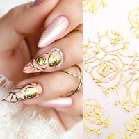 Gold 3D Nail Stickers Flower Plants Vine Pattern Nail Art Transfer Decals Tips
