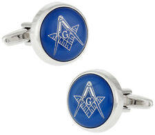 Blue Masonic Freemason Round Cufflinks Direct from Cuff-Daddy