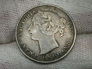 Middle Grade 1872 Silver 20¢ Twenty Cent Newfoundland CANADA.  #17