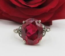 Ruby Seed Pearl Sterling Silver Leaf Ring Sz 7 Antique Vintage Art Deco Style