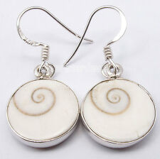 925 Sterling Silver Unseen ROUND SHIVA EYE MADE IN INDIA Earrings 1 1/4 inches