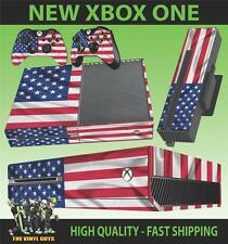 XBOX ONE CONSOLE STICKER USA FLAG STARS AND STRIPES SKIN & 2 PAD SKINS