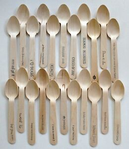 Disposable Mini 4.5 Inch Wooden Spoons - 20 Pieces - Your Phrase Choice