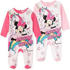 Disney Minnie Mouse Baby Babies Girls 100% Cotton Sleepsuit Romper Pyjamas 0-24m