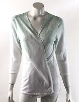 Chico's Cardigan Sweater Size Medium 1 Green White Floral Ombré Open Front