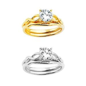 14k Yellow White Gold - 1 ct Round CZ Solitaire Engagement Wedding Ring Set 4-10