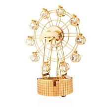 24K Gold Plated Music Box with Crystal Studded Ferris Wheel Figurine by Matashi