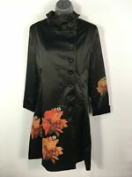 BNWT WOMENS DESIGUAL CHAQ FOLKY BLACK FLORAL SATIN BUTTON UP FITTED COAT UK 10