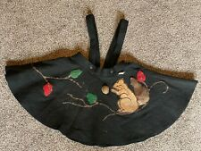 Antique Vintage Trixy Child's Felt Jumper Skirt Squirrel Leaves Nut