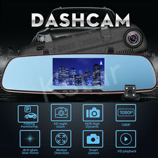HD 1080P 5.0'' Dual Lens Car DVR Rear View Mirror Dash Cam Video Camera Recorder