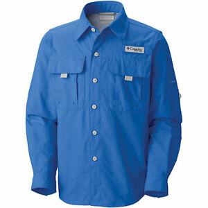 Columbia Youth Boys Shirt Sz L Vivid Blue Long/S Fishing NWT Omni Shade UPF40