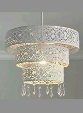 White Moroccan Three Tiered Metal Ceiling Shade Lightshade 30cm x 20cm Jewelled