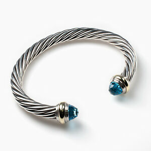 David Yurman 14Kt Gold, Sterling Silver & Blue Topaz Cable Bracelet 5mm