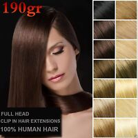 190g 7A+ Deluxe Thick Virgin Remy Real Human Hair Extensions Hair Clip In 10pcs