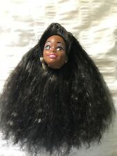 VINTAGE BARBIE DOLL HEAD ONLY AFRICAN AMERICAN NICHELLE? CRIMPED LONG HAIR