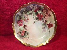 Antique Hand Painted Raspberries & Flowers Bowl Gold Rim Signed c1889-1918, p224