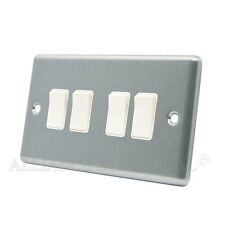 Brushed Satin Chrome Classical 4 Gang Quad 2 Way Light Switch CSC4GSWIWH