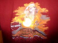 2007 Harley Davidson Sturgis Motorcycle Rally Maroon SS T Shirt, Buffalo, Sz L