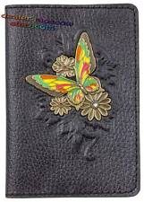 Bronze Solid Brass Leather Passport Holder Cover Flitting Butterfly