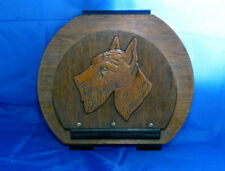 VINTAGE WOODEN LETTER RACK WITH DOG'S HEAD WALL HANGING MADE IN BELGIUM