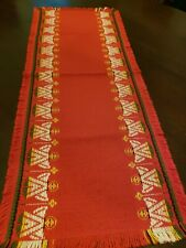 Vintage Chris Table Runner Areda Red Gold Angels Germany