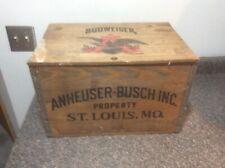 Anheuser Busch Wooden Beer Crate w/Bottle Cap Checkers
