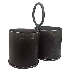 Vintage 2er Behälter aus Recyclingeisen Patina Thali Reis Topf Blumentopf Eisen